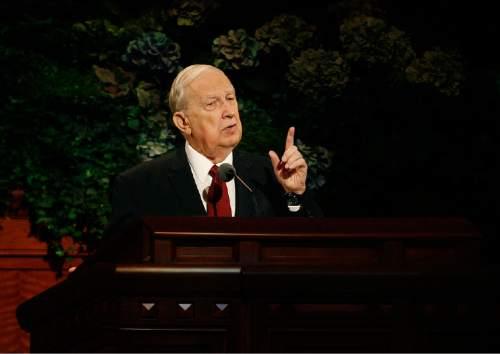 Scott Sommerdorf   |  The Salt Lake Tribune Elder Richard G. Scott of the Quorum of the Twelve Apostles spoke during the morning session of the 183rd LDS General Conference, Sunday, October 6, 2013.