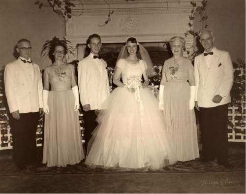 photo courtesy The Church of Jesus Christ of Latter-day Saints  Richard and Jeanene's wedding picture with their parents in 1953. Kenneth L. and Mary E. Scott to the left; Andrea and Arthur V. Watkins on the right. Kenneth was on the personal staff of Agriculture Secretary Ezra Taft Benson and Arthur was a U.S. Senator from Utah at the time.