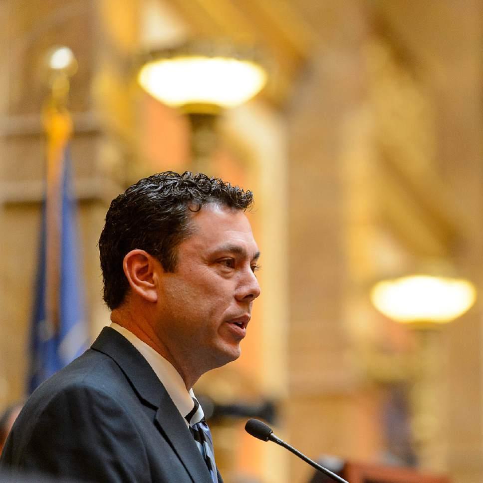 Trent Nelson  |  The Salt Lake Tribune Congressman Jason Chaffetz speaks in the House Chamber of the State Capitol Building in Salt Lake City, Friday February 6, 2015.