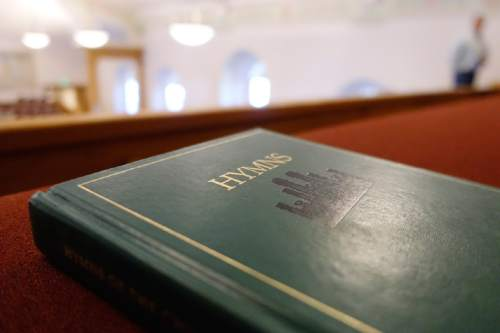 Lennie Mahler  |  The Salt Lake Tribune A book of LDS hymns lies on a pew at the Manti Tabernacle.