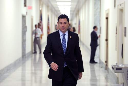 House Oversight and Government Reform Committee member Rep. Jason Chaffetz, R-Utah, arrives at the committee's offices on Capitol Hill in Washington, Tuesday, June 4, 2013, for a closed-door session where former Ambassador Thomas Pickering was to give a depsition regarding events in Benghazi, Libya. (AP Photo/Cliff Owen)