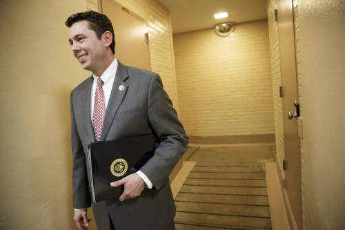 FILE - New House Oversight and Government Reform Committee Chairman Rep. Jason Chaffetz, R-Utah speaks with reporters on  Capitol Hill in Washington, Friday, Jan. 9, 2015, following a closed-door meeting of House Republicans aimed at countering President Barack Obama's executive actions on immigration. Chaffetz was the chairman of the national security subcommittee and led the investigation into security breaches involving the Secret Service, which gave him a high-profile perch. House Oversight has been an irritant to the Obama administration the past four years under Rep. Darrell Issa of California who had to step down under term-limitation rules. (AP Photo/J. Scott Applewhite)