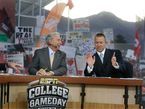 Scott Sommerdorf  l  The Salt Lake Tribune  Lee Corso (left) and Kirk Herbstreit discuss the BCS races during the early part of the GameDay program. The ESPN College Gameday program did its broadcast at the University of Utah prior to the TCU at Utah game, Saturday, November 6, 2010.