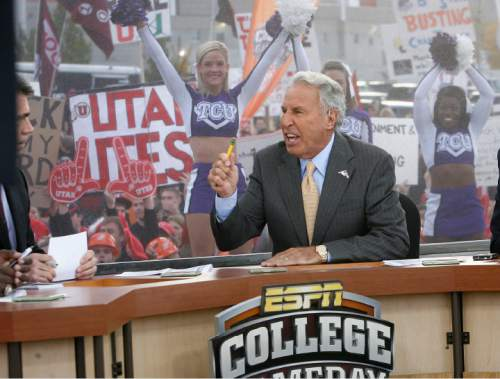 Scott Sommerdorf  l  The Salt Lake Tribune  Lee Corso gets into an energetic description of how he feels the game will go as fans of both teams watch behind the GameDay set. The ESPN College Gameday program did its broadcast at the University of Utah prior to the TCU at Utah game, Saturday, November 6, 2010.