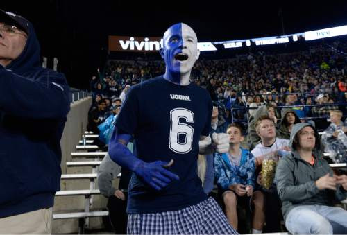 Scott Sommerdorf   |  The Salt Lake Tribune UCONN fan Clay Nosel of Wallingford, Connecticut celebrates a missed BYU field goal attempt at the end of the half. UCONN and BYU were tied 7-7 at the half, October 2, 2015.