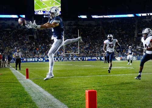 Scott Sommerdorf   |  The Salt Lake Tribune BYU wide receiver Nick Kurtz (5) has this pass slip out of his hands in the end zone during second half play. BYU settled for a FG and a 10-10 tie. UCONN and BYU were tied 10-10 early in the third quarter, October 2, 2015.