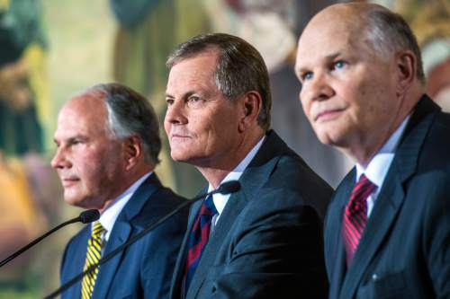 Chris Detrick  |  The Salt Lake Tribune New apostles Ronald A. Rasband, Gary E. Stevenson and Dale G. Renlund during a press conference at the Church Office Building Saturday October 3, 2015.