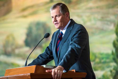 Chris Detrick  |  The Salt Lake Tribune New apostle Gary E. Stevenson speaks during a press conference at the Church Office Building Saturday October 3, 2015.