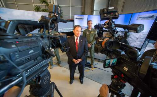 Rick Egan  |  The Salt Lake Tribune  Gov. Gary Herbert talks about his experience sitting in the cockpit of the F-35 simulator.  Lockheed Martin and Hill Air Force Base teamed up to bring the F-35 interactive cockpit demonstrator to the University Of Utah Wednesday, October 7, 2015.