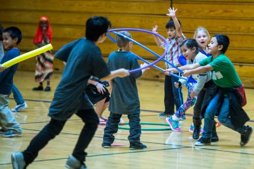 Chris Detrick  |  The Salt Lake Tribune First graders play in gym class at Lincoln Elementary School Tuesday October 6, 2015.