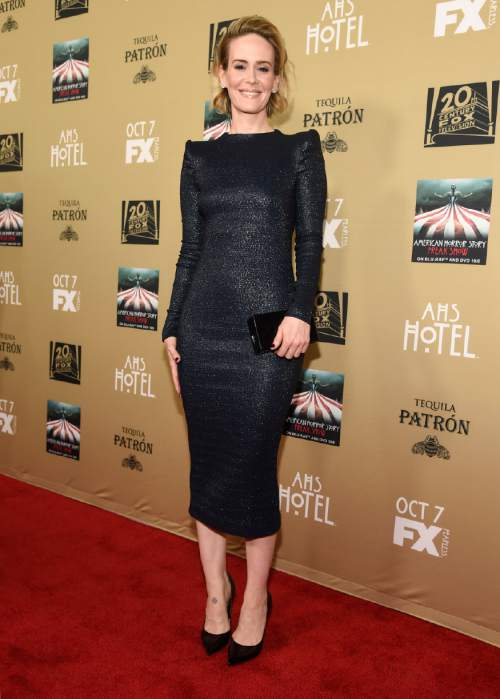 """Sarah Paulson arrives at the Los Angeles premiere screening of """"American Horror Story: Hotel"""" at Regal Cinemas L.A. Live on Saturday, Oct. 3, 2015. (Photo by Chris Pizzello/Invision/AP)"""