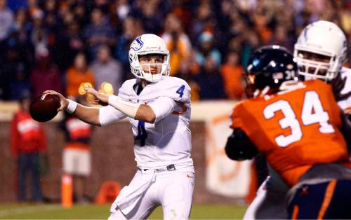 Boise State quarterback Brett Rypien (4) passes during the first half of an NCAA college football game against Virginia on Friday, Sept. 25, 2015, in Charlottesville, Va. (/Ryan M. Kelly/The Daily Progress via AP) MANDATORY CREDIT