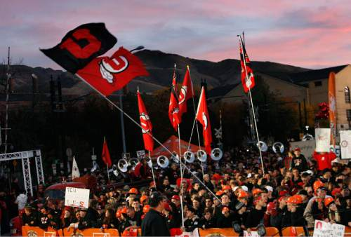 Scott Sommerdorf  l  The Salt Lake Tribune  A beautiful sunrise appeared over the Utah fans as the GameDay cameras panned over the crowd. The ESPN College Gameday program did its broadcast at the University of Utah prior to the TCU at Utah game, Saturday, November 6, 2010.