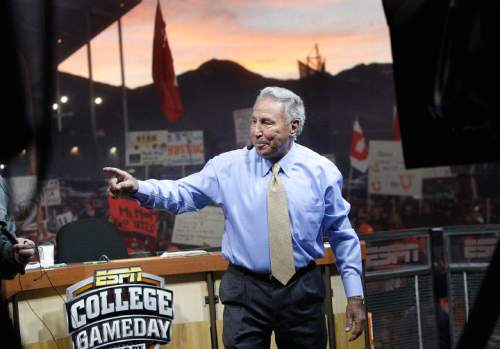 Scott Sommerdorf  l  The Salt Lake Tribune  Longtime ESPN GameDay analyst Lee Corso arrives on the set of the program early in the morning Saturday. The ESPN College Gameday program did its broadcast at the University of Utah prior to the TCU at Utah game, Saturday, November 6, 2010.