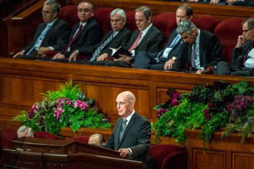 Chris Detrick  |  The Salt Lake Tribune President Henry B. Eyring, first counselor in the First Presidency, speaks during morning session of the 185th LDS General Conference at  the Conference Center in Salt Lake City Saturday October 3, 2015.