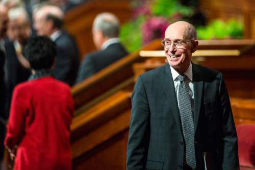 Chris Detrick  |  The Salt Lake Tribune President Henry B. Eyring, first counselor in the First Presidency, walks off of the stage during morning session of the 185th LDS General Conference at  the Conference Center in Salt Lake City Saturday October 3, 2015.