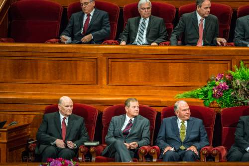 Chris Detrick  |  The Salt Lake Tribune New apostles Dale G. Renlund, Gary E. Stevenson and Ronald A. Rasband during afternoon session of the 185th LDS General Conference at  the Conference Center in Salt Lake City Saturday October 3, 2015.