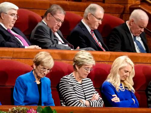 Trent Nelson  |  The Salt Lake Tribune Members of LDS Church leadership bow their heads in prayer at the 185th Semiannual General Conference of the LDS Church in Salt Lake City, Saturday October 3, 2015.