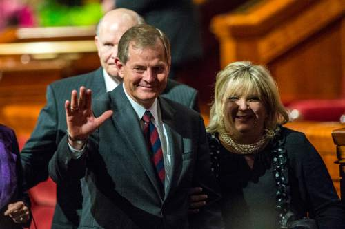 Chris Detrick  |  The Salt Lake Tribune New apostle Gary E. Stevenson waves to the crowd after the afternoon session of the 185th LDS General Conference at  the Conference Center in Salt Lake City Saturday October 3, 2015.
