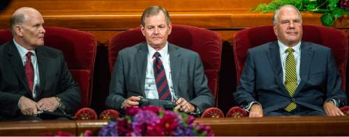 Chris Detrick  |  The Salt Lake Tribune The LDS Church named three new apostles Dale G. Renlund, Gary E. Stevenson and Ronald A. Rasband during afternoon session of the 185th LDS General Conference at  the Conference Center in Salt Lake City Saturday October 3, 2015.