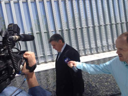 Brian Maffly     Tribune file photo  San Juan County Commissioner Phil Lyman declines to speak with reporters as he leaves U.S. District Court in Salt Lake City in May. He was convicted by a jury on misdemeanor charges of conspiracy and driving an ATV on public lands closed to motorized vehicles.