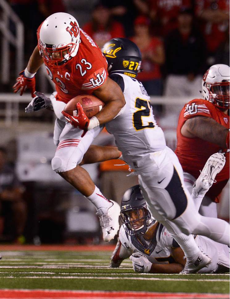 Scott Sommerdorf   |  The Salt Lake Tribune Utah RB Devontae Booker rambled for 222 yards versus Cal as Utah beat Cal 30-24, Saturday, October 10, 2015.