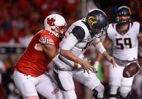Scott Sommerdorf   |  The Salt Lake Tribune Utah DE Kylie Fitts sacks Cal QB Jared Goff causing him to fumble. Cal recovered, but was forced to punt the following play. Utah beat Cal 30-24, Saturday, October 10, 2015.