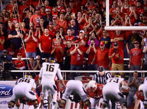 Scott Sommerdorf   |  The Salt Lake Tribune Utah fans in the north end zone harass Cal QB Jared Goff and the Cal offense during first half play. Utah held a 24-17 lead at the half, Saturday, October 10, 2015.