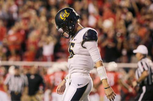 California quarterback Jared Goff (16) reacts to throwing an interception in the first half of an NCAA college football game against Utah on Saturday, Oct. 10, 2015, in Salt Lake City. (AP Photo/Kim Raff)