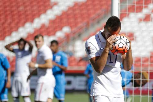 United States forward Jerome Kiesewetter (17) reacts after a teammate missed a chance at goal during the second half CONCACAF men's Olympics semifinal qualifying soccer match against Honduras, Saturday, Oct. 10, 2015, in Sandy, Utah. (AP Photo/Rick Bowmer)