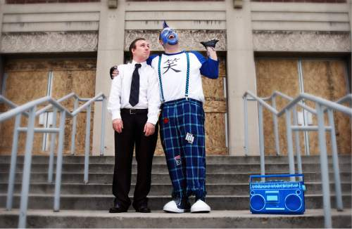 """Courtesy photo   Austin Stephenson as Johnny and Jared Greathouse as the punk clown Mr. Wiggles in The Hive Theatre Company's premiere of """"The Secret Lives of Clowns."""""""