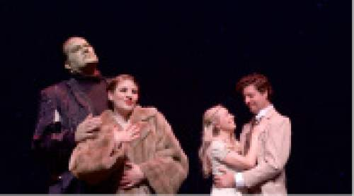 """Dave Hanson as The Monster with Angela Avila as Elizabeth Benning, and Lisa Ann White as Frau Bl¸cher and Addison Welch as Dr. Frankenstein in Grand Theatre's """"Young Frankenstein."""" Steve Fidel  