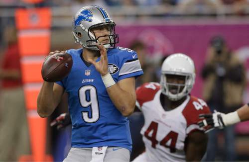 Arizona Cardinals outside linebacker Markus Golden (44) rushes Detroit Lions quarterback Matthew Stafford (9) during the first half of an NFL football game, Sunday, Oct. 11, 2015, in Detroit. (AP Photo/Carlos Osorio)