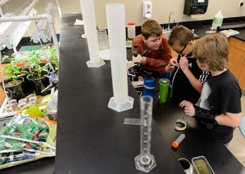 Trent Nelson  |  The Salt Lake Tribune Andrew Christensen, Nick Bowman, and Scott Gasparac monitor a science experiment at the Salt Lake Center for Science Education in Salt Lake City, Tuesday May 19, 2015.