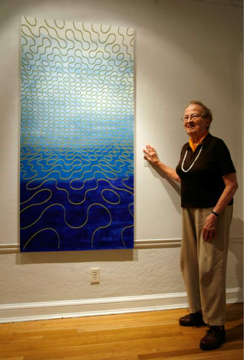 """Tribune file photo  Anna Bliss speaks about her piece """"Water Wall"""" in 2009. The acclaimed Utah artist died this week at age 90."""