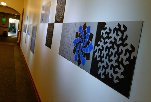 """Francisco Kjolseth   The Salt Lake Tribune In this file photo, the work of artist and architect Anna Campbell Bliss is seen at the Cowles Mathematics Building on the University of Utah campus with her piece entitled, """"Extended Vision.""""  The acclaimed Utah artist died this week at age 90."""