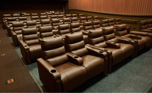 Rick Egan  |  The Salt Lake Tribune  New reclining chairs in all of the auditoriums in the newly renovated Cinemark Sugar House Theater.