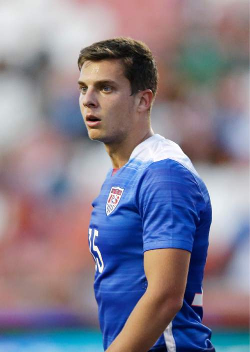 United States midfielder Marc Pelosi looks on in the second half of a CONCACAF Men's Olympic qualifying soccer match against Canada, Tuesday, Oct. 13, 2015, in Salt Lake City. The United States won 2-0. (AP Photo/Rick Bowmer)