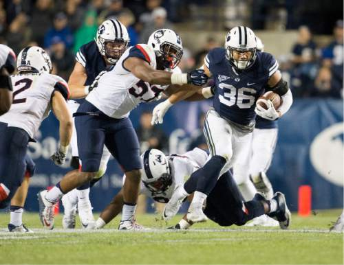 Jaren Wilkey     BYU  Francis Bernard in action during the Brigham Young University Football vs The University of Connecticut football game on October 2, 2015 in Provo.