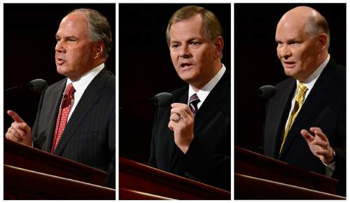 Scott Sommerdorf   |  The Salt Lake Tribune Ronald A. Rasband, Gary E. Stevenson and Dale G. Renlund give their first speeches as members of The Quorum of the Twelve at the 185th Semiannual General Conference, Sunday, October 4, 2015.