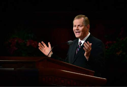 Scott Sommerdorf   |  The Salt Lake Tribune Gary E. Stevenson gives his first speech as a member of The Quorum of the Twelve at the 185th Semiannual General Conference, Sunday, October 4, 2015.