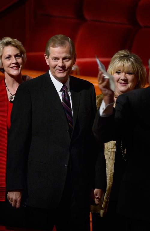 Scott Sommerdorf   |  The Salt Lake Tribune Elder Gary E. Stevenson leaves the morning session of the 185th Semiannual General Conference with his wife Lesa Jean Stevenson, right, Sunday, October 4, 2015.