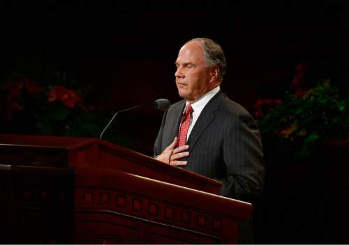 Scott Sommerdorf   |  The Salt Lake Tribune Ronald A. Rasband gives his first speech as a member of The Quorum of the Twelve at the 185th Semiannual General Conference, Sunday, October 4, 2015.