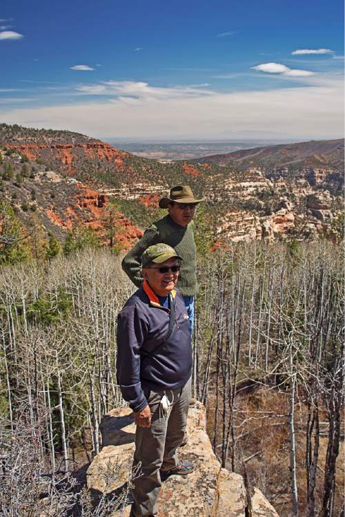 Courtesy  |  Tim Peterson  Ben Nuvamsa, Former Chairman of the Hopi Tribe, and Kenneth Maryboy, Former SJC Commissioner and NN Council Delegate, at the Arch Canyon Overlook near Bears Ears.