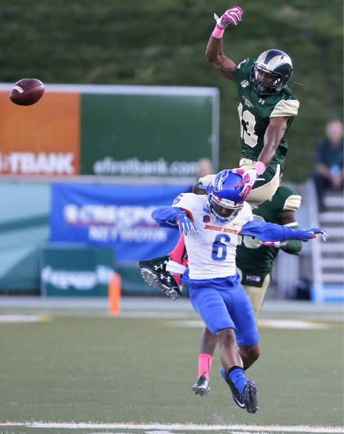Colorado State defensive back DeAndre Elliot (13) blocks a catch by Boise State wide receiver Chaz Anderson (6) in the first half of an NCAA college football game Saturday, Oct. 10, 2015 in Fort Collins, Colo. (AP Photo/Brennan Linsley)