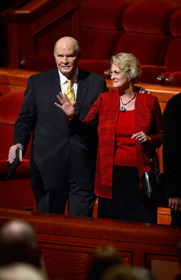 Scott Sommerdorf   |  The Salt Lake Tribune Elder Dale G. Renlund leaves the morning session of the 185th Semiannual General Conference with his wife Ruth Lybbert Renlund, Sunday, October 4, 2015.