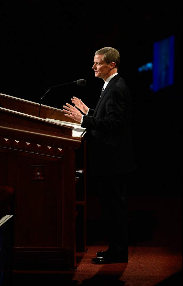 Scott Sommerdorf   |  The Salt Lake Tribune Elder David A. Bednar speaks at the afternoon session of the 185th Semiannual General Conference, Sunday, October 4, 2015.