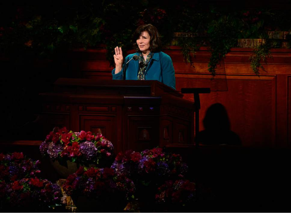 Scott Sommerdorf   |  The Salt Lake Tribune Sister Carole M. Stephens speaks at the afternoon session of the 185th Semiannual General Conference, Sunday, October 4, 2015.