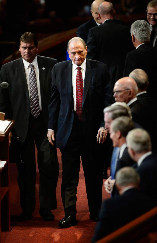 Scott Sommerdorf   |  The Salt Lake Tribune President Thomas S. Monson leaves the afternoon session of the 185th Semiannual General Conference, Sunday, October 4, 2015.
