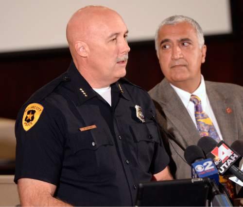 Al Hartmann  |  The Salt Lake Tribune Salt Lake City Police Chief Mike Brown and Salt Lake County District Attorney Sim Gill hold a press conference to discuss the findings of the Officer Involved Critical Incident (OICI) review and Salt Lake County Sheriff's office in the Sept. 23 incident involving  Salt Lake City Police Department Officer Ben Hone who shot and killed a home intruder as he assaulted Salt Lake City residents and sisters Breann and Kayli Lasley.   The review determined the use of deadly force by Hone was legally justified.